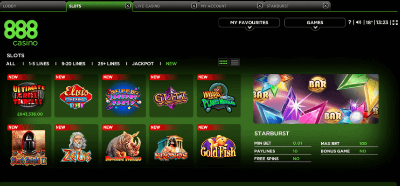 Exclusive online casino games in 888 casino