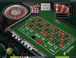 european roulette table layout