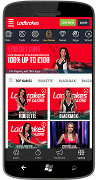 Ladbrokes offers a fifty dollars mobile casino free bonus bets for all new players