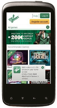 Mr Green mobile casino is available in 5 different languages